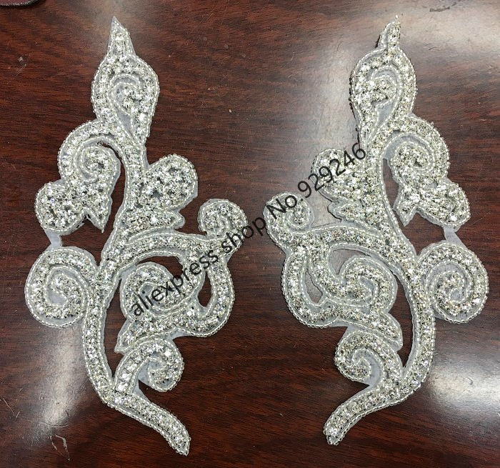 1 Pair/pack Fancy Big Flower Crystal Applique In Pairs For Women Dress Gown Collar Bra Bridal Wedding Dress Shoes Embellishments