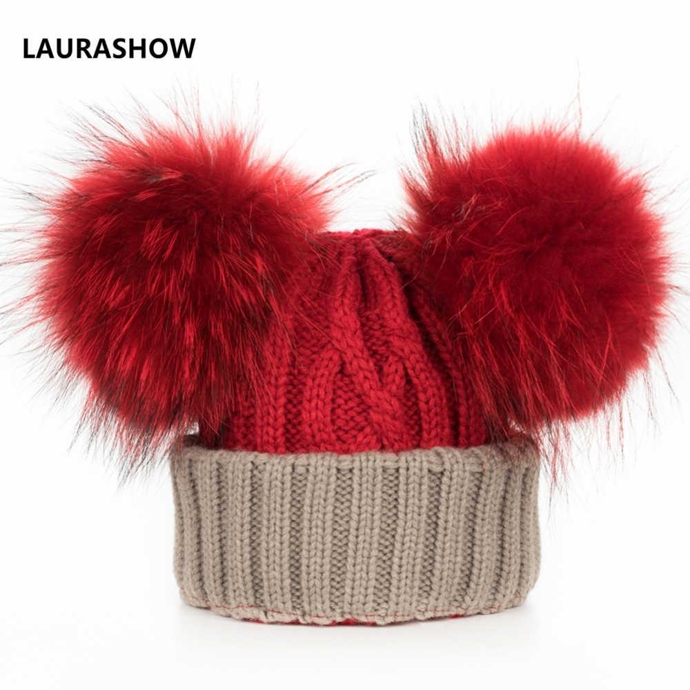 LAURASHOW เด็กฤดูหนาวจริง 16 เซนติเมตร Mink Fur Ball Beanie ถักหมวกเด็ก Warm Raccoon ที่มีสีสัน Pompoms Skullies Beanies ขนสัตว์หมวก