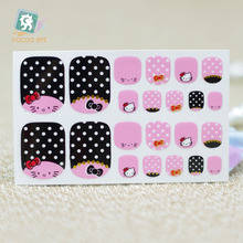 Y5534/2016 New Adhesive Decal Feet Nail Art Foil Stickers Brand Pink Black Hellokitty Dot Toe Nail Art Wraps Sticker
