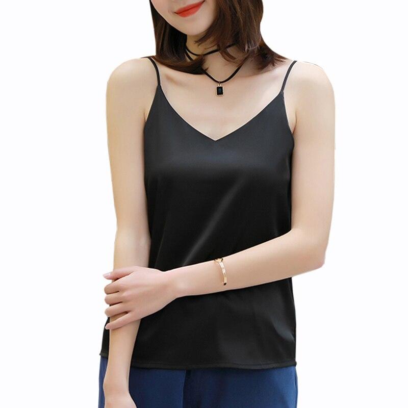 Mode femmes 2019 été nouveau Sexy v-cou T-shirt femmes noir sans manches Slim fit hauts femmes