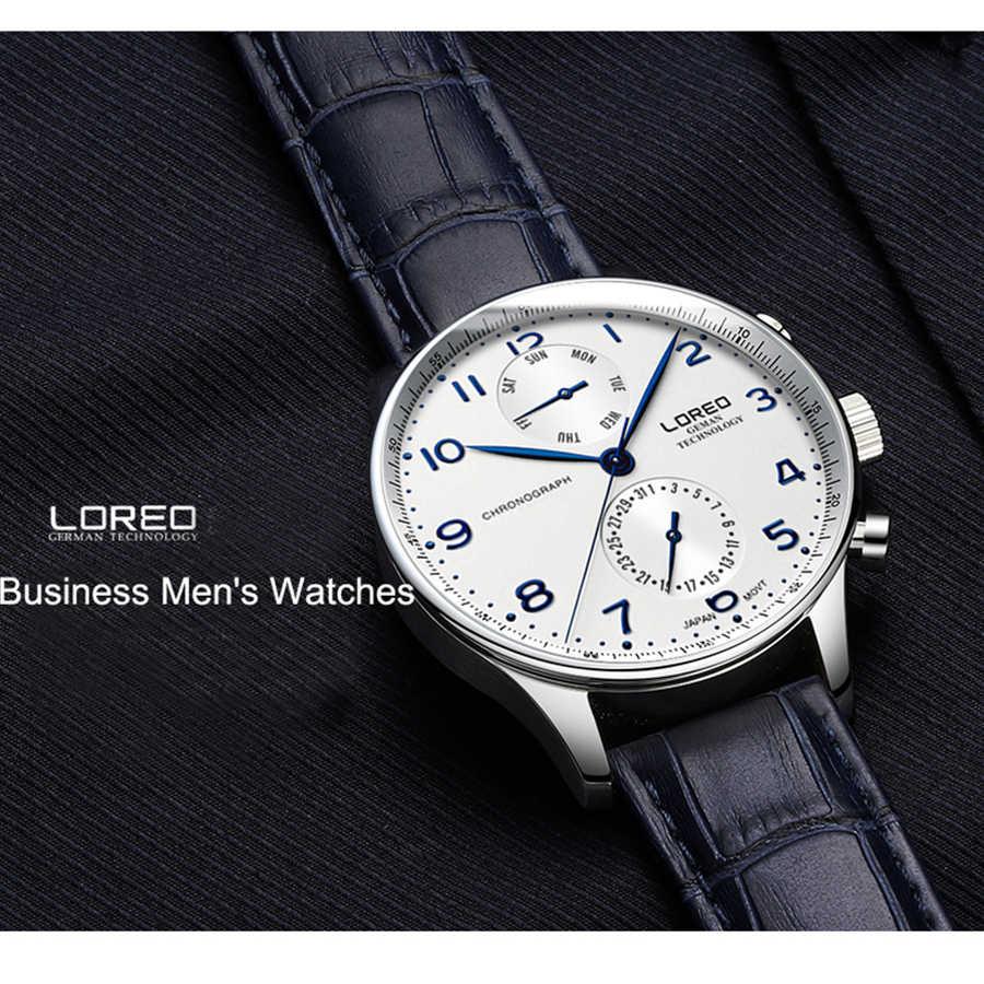 ブルーデジタルダイヤル LOREO 50 メートル防水スポーツ腕時計男性クォーツ時計メンズ腕時計時間レロジオ Masculino