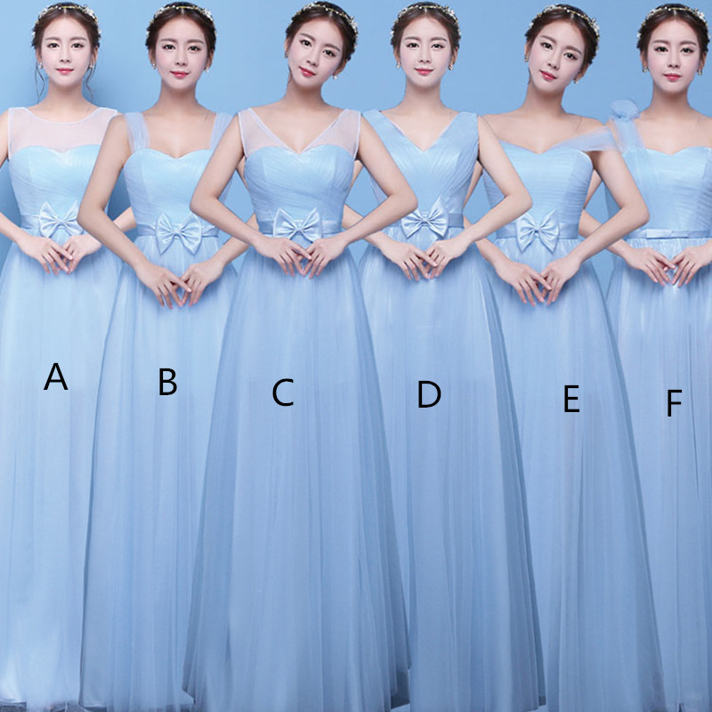 Holievery Sky Blue Tulle Beach Bridesmaid Dresses With Bow 2019 Long