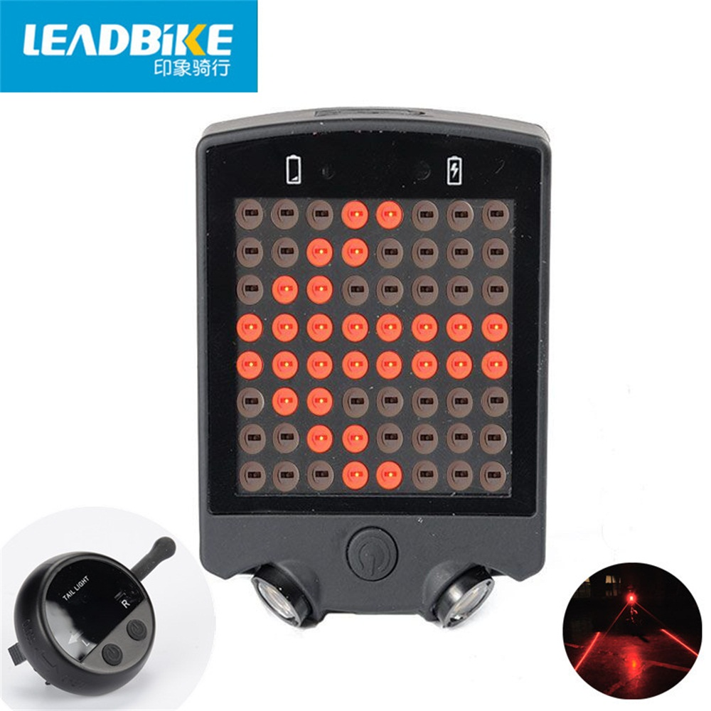 Leadbike Wireless Remote 64 LED Laser Bicycle Rear Tail Light USB Rechargeable Bike Cycling Safety Warning Turn Signals Light leadbike a44 bike handlebar phone bag