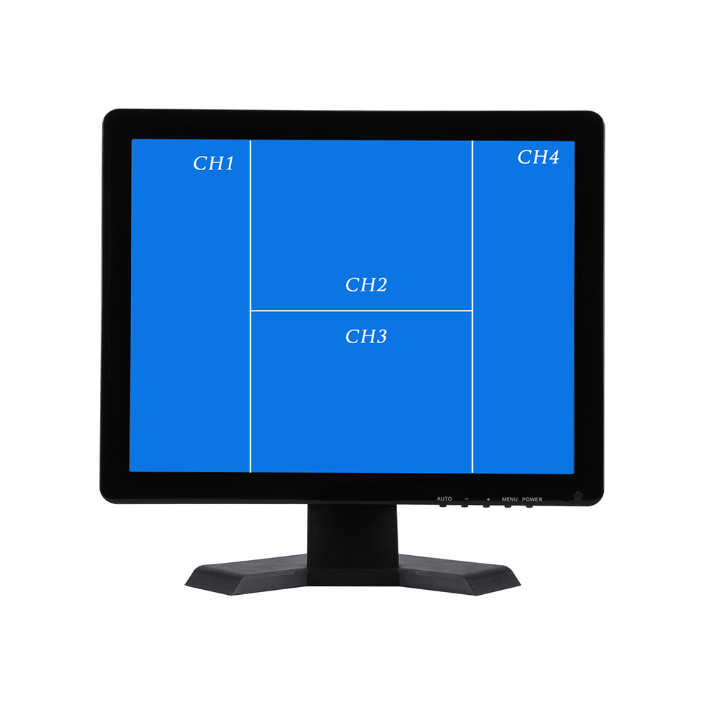 19 Inch QUAD Display screen CCTV TFT-LED Monitor with Metal Shell & 4 BNC/VGA for PC & Multimedia & Donitor Display & Microscope