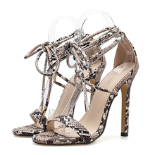 Women Shoes Plus Size Sandals Sexy High Heels Snake Pattern Stiletto Cross-Strap Ladies