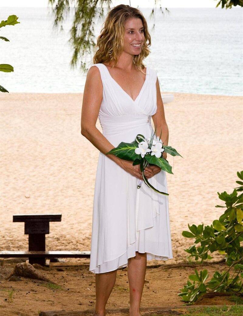 new simple design short chiffon beach wedding dresses v neck elegant tea length bridal gowns vestido