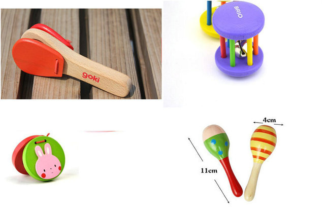Free Shipping Wood Children Castanets Rattles Maracas 4pcs