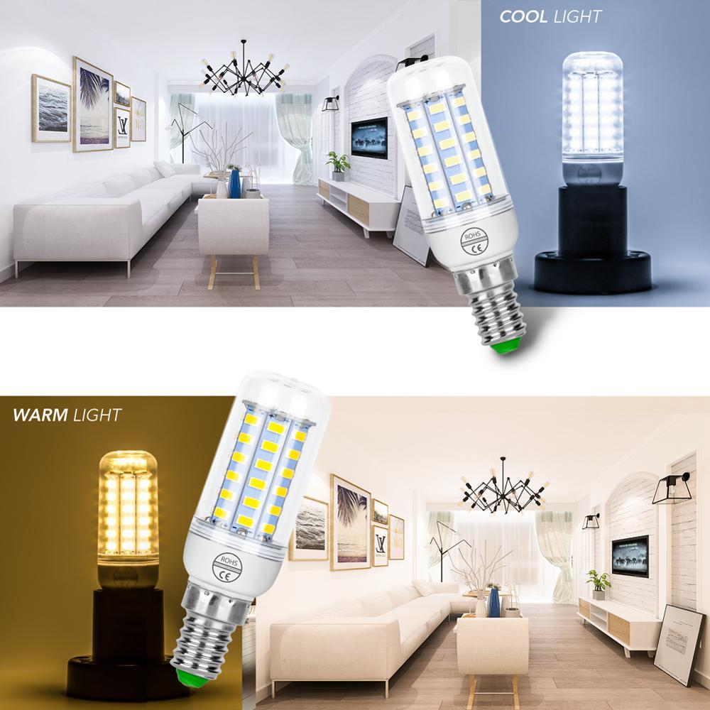E27 LED Lamp GU10 Corn Light Bulb LED 220V Bombillas E14 SMD 5730 Chandelier 24 36 48 56 69 72LEDs Light 240V Candle Bulb 3W 5W in LED Bulbs Tubes from Lights Lighting