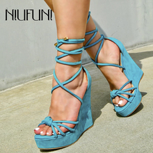 NIUFUNI Ladies Sandals Waterproof Platform Sandals Women Shoes Summer High Heels Ankle Strap Solid Color Sexy Wedges Shoes 2019 sorbern khaki women sandals rope high heels platform shoes summer style ladies work shoes wedges sandals ankle strap heels