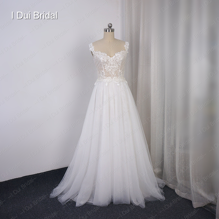 Tulle Lace Wedding Dress A Line Sweetheart Neckline With Strapes Lace Up Back Beach Bridal Gown
