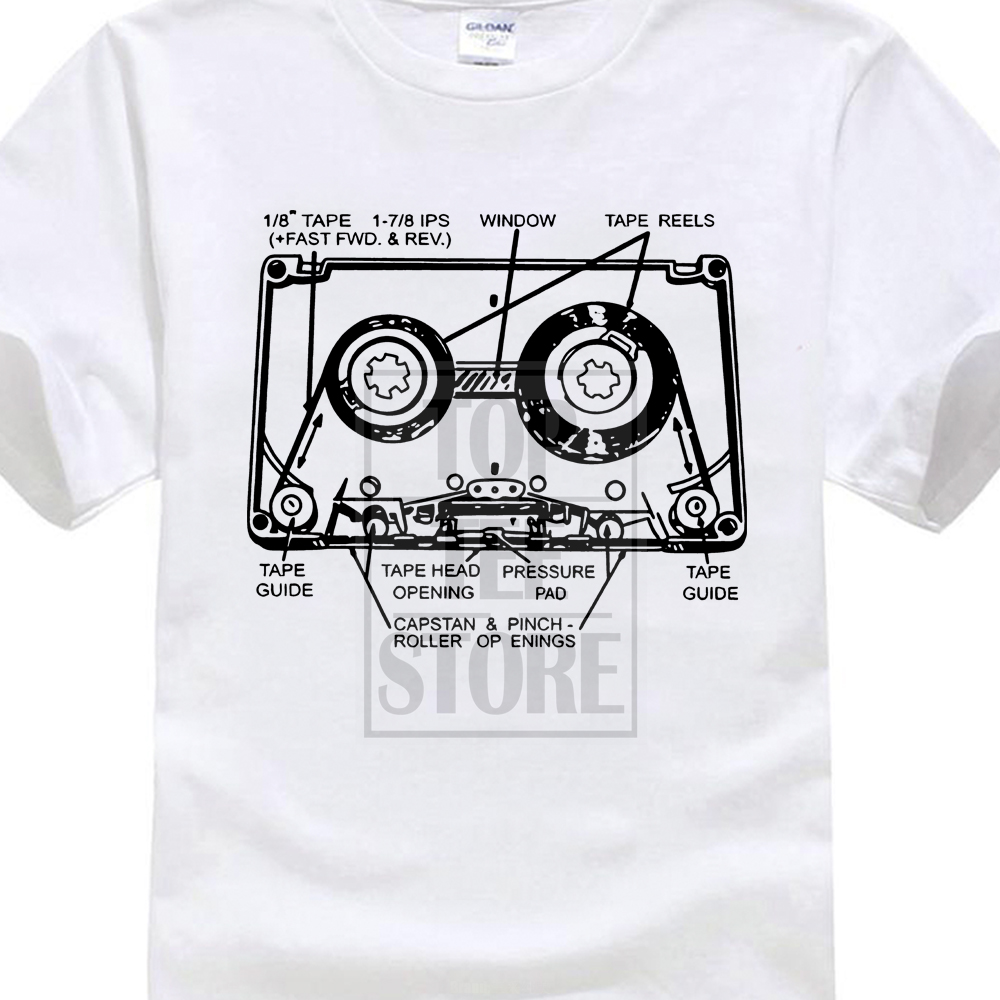 New Brand Clothing Tee Shirts Print T Shirt Men Hot Tape Cassette Retro 80'S Vinyl Soul Jazz Rap Movie T Shirt