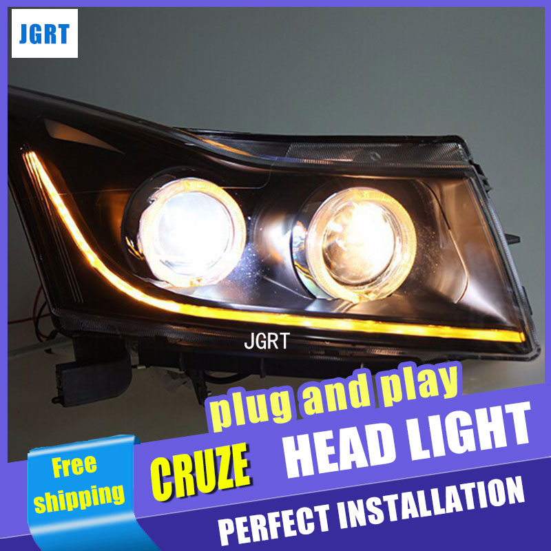 Car Styling Head Lamp for Chevrolet Cruze led headlights 2009-2014 angel eye led drl H7 hid Bi-Xenon Lens low beam