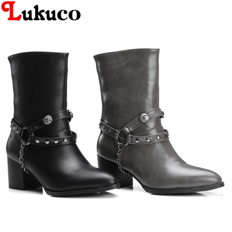 2018 Mid-calf boots super large size 36 37 38 39 40 41 42 43 44 45 46 47 48 ELEGANT women shoes rivets design free shipping double buckle cross straps mid calf boots