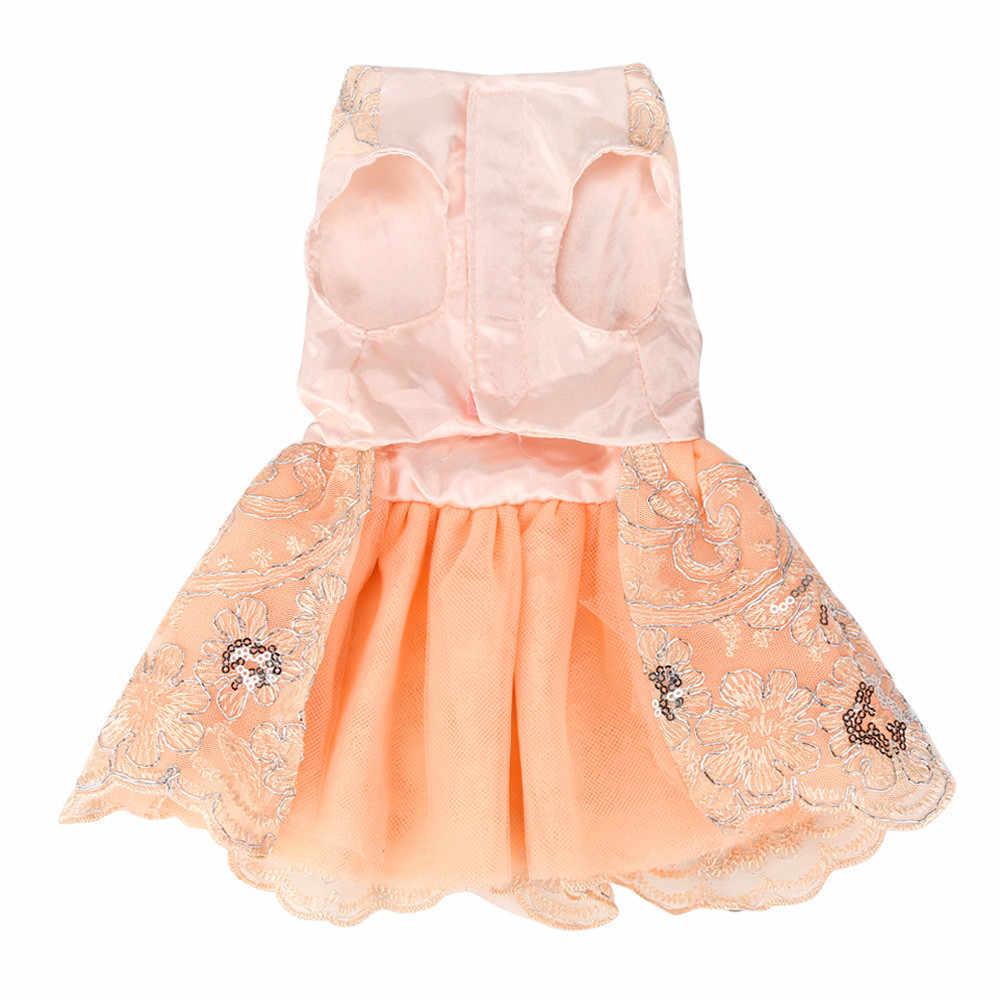 Transer Vestido Перро блестки кружева вышитые собак платье свадебное платье принцессы для собак шелковые ткани 18 Dec14 P40