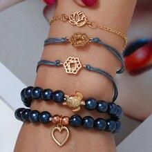 Bohopan 5PCS/Set Fashion Navy Natural Stone Bracelets Simple Hollow Heart For Women Double Blue Link Bangles