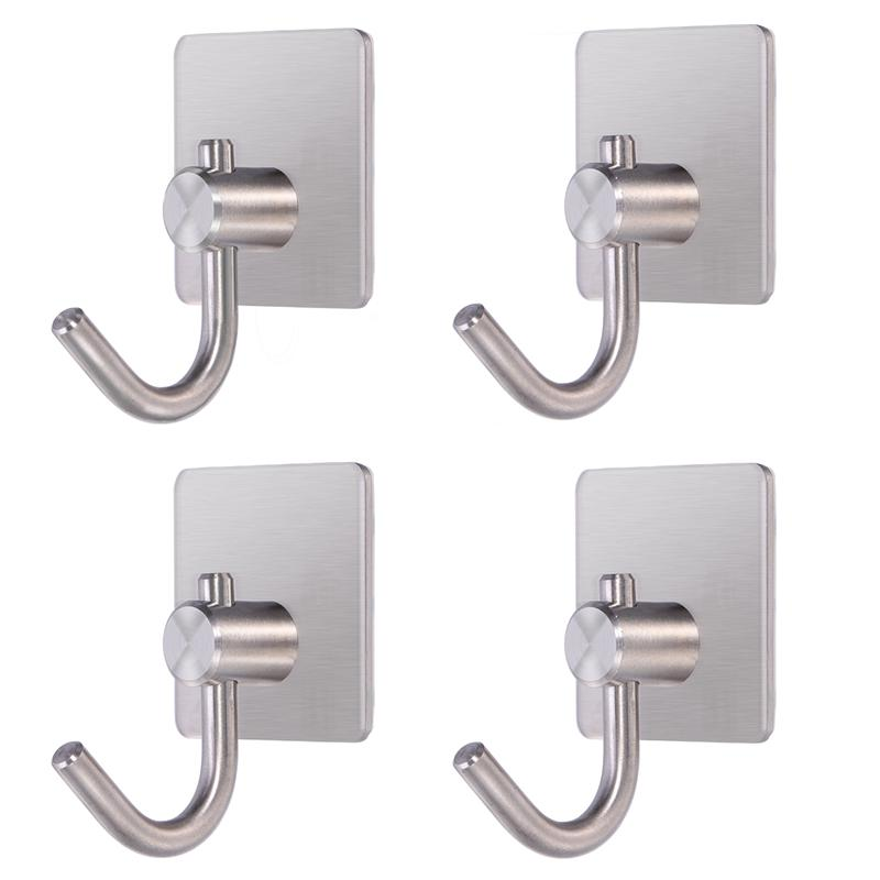 adhesive hook 4pcs self adhesive hook stainless steel heavy duty coat towel hook for bathroom. Black Bedroom Furniture Sets. Home Design Ideas