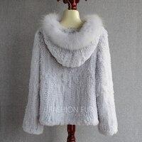 2018 зимний капюшон Женская одежда из меха кролика трикотажные пальто настоящий бренд Fox Fur Trim натуральные меховые пальто куртки одежды RFJ0034