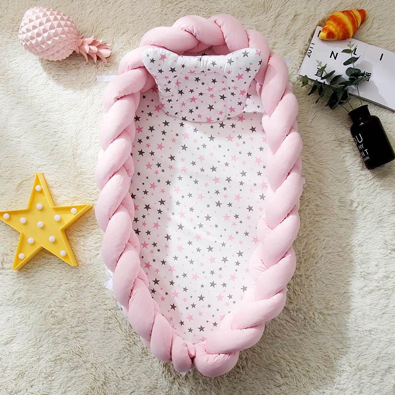 pink braided cotton baby nest