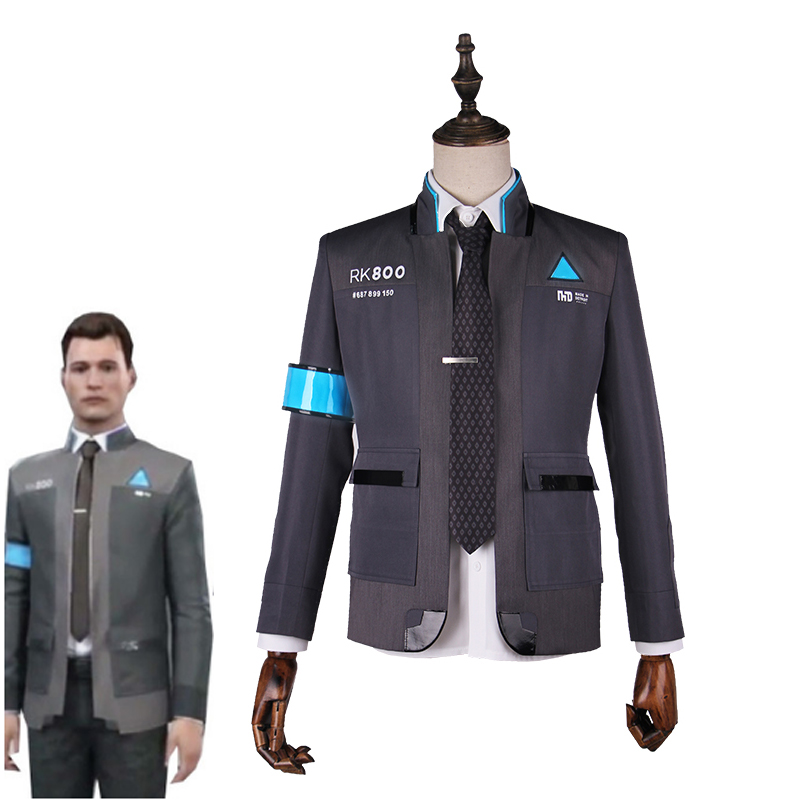 New Game Detroit Become Human Connor Cosplay Costume Rk800 Agent Suit Halloween Carnival Uniforms Men S Formal Coat Tie Game Costumes Aliexpress