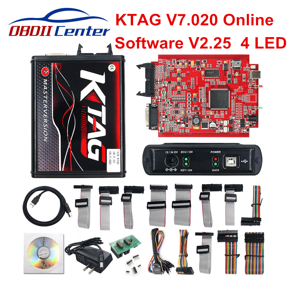 2019 KTAG V7.020 Master K-TAG 7.020 KESS V2 5.017 Red PCB Euro ECU Chip Tuning Tool K TAG Full Adapters OBD2 ECU Programmer GPT(China)