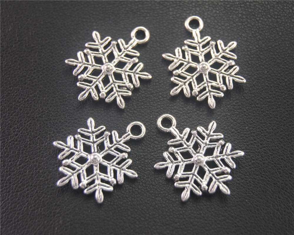 30pcs Antique Sliver Christmas Snowflake Charm Pendant DIY Necklace Bracelet Bangle Findings 23X17mm A2007
