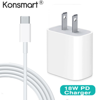 Konsmart Original 18W USB C PD Fast Charge Charger for iPhone X Xr XS Max iPad Pro 9V 2A Fast Charger Power Delivery Charger