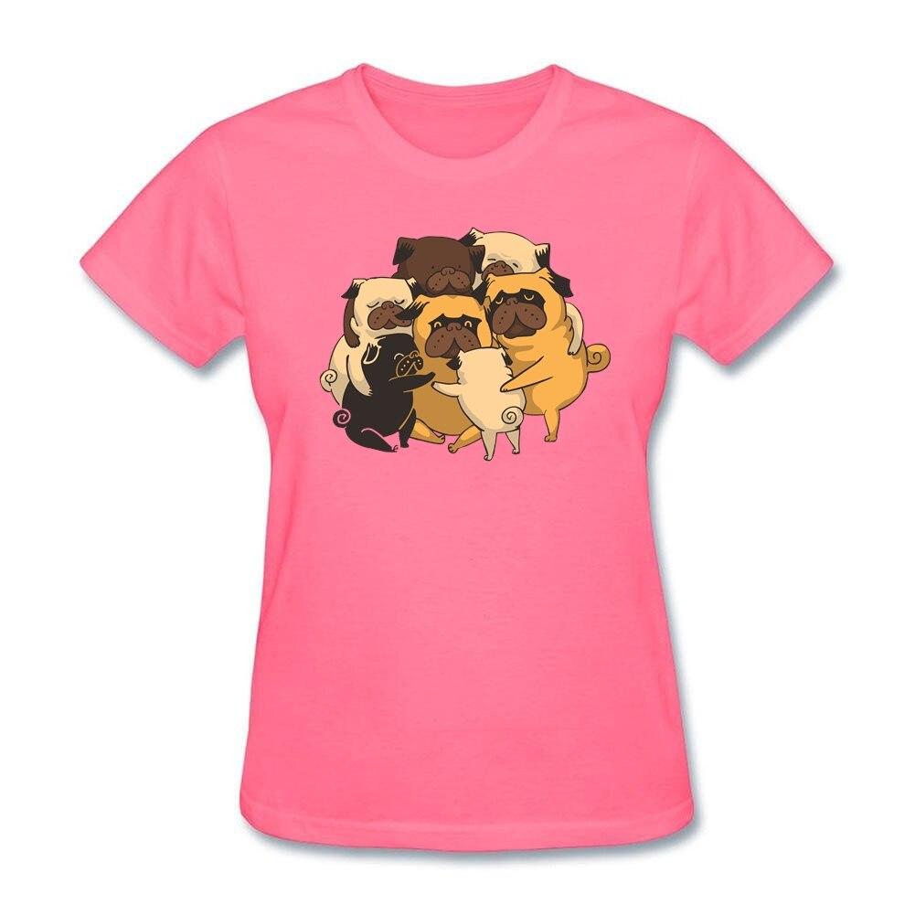 Casual T Shirt Femmes Carlins Groupe Câlin Coton Col Rond Fille Chien Câlin T-Shirt Dame Plus La Taille Tops