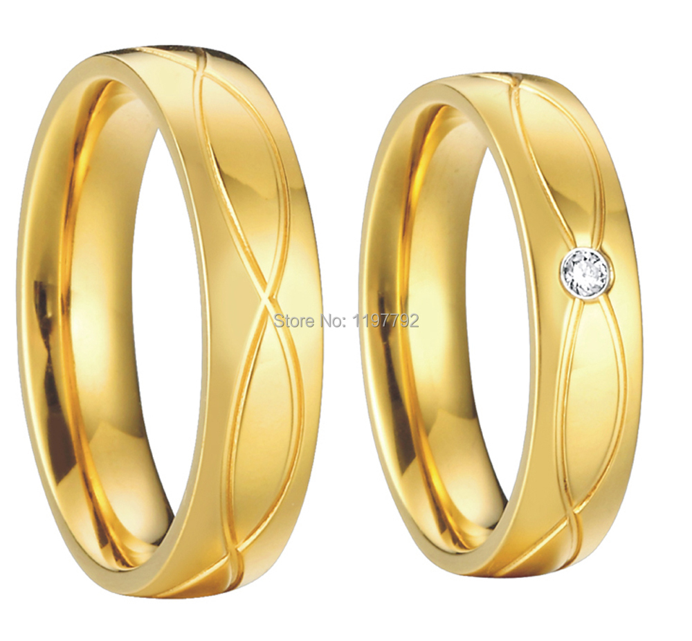 gold color health jewelry titanium steel vintage engagement wedding rings sets for men women anel alliance in rings from jewelry accessories on - Engagement Wedding Ring Set