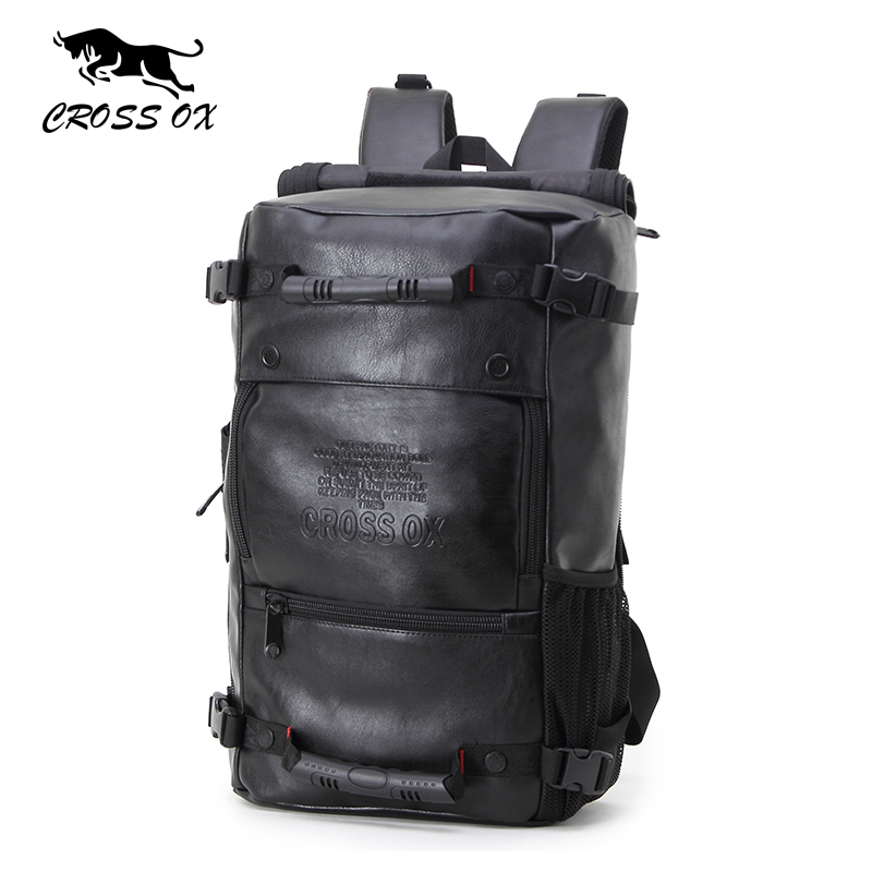 купить  CROSS OX Men's Multifunctional backpacks Fashion Luggage Bags For Men Big Capacity Hike Bag PU Leather Travel Bag BK035M  недорого