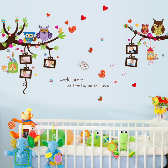Cute owl photo frame wall stickers for kids rooms removable tree ...