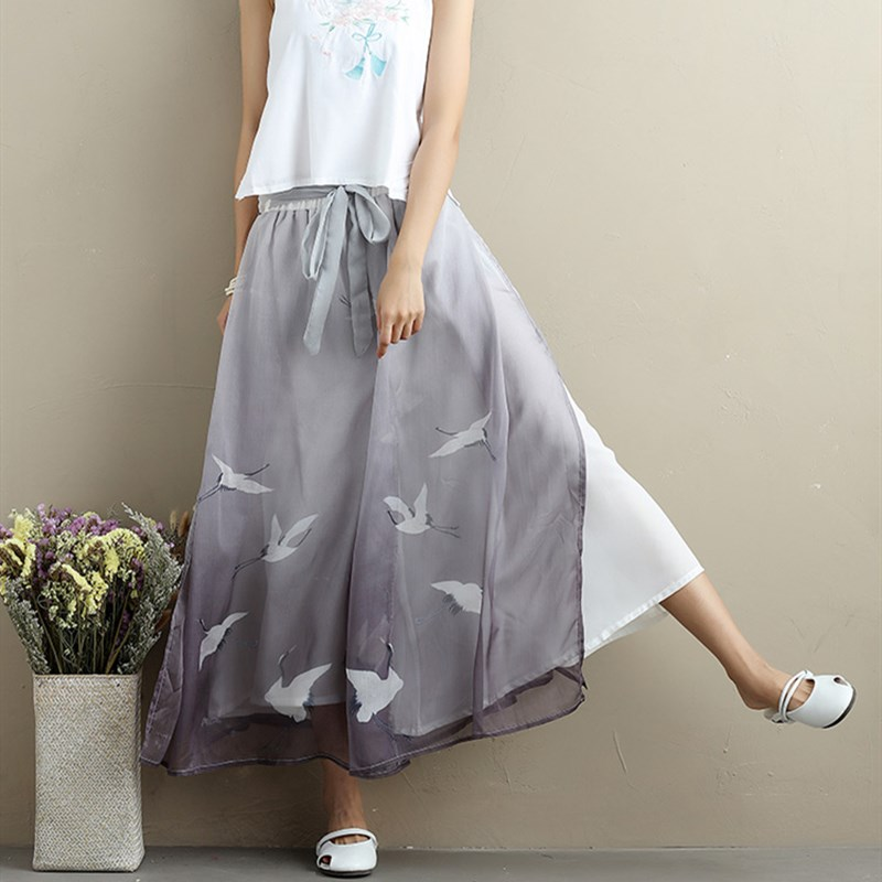Women Thin Chiffon Casual   Pants   Print Ankle-Length Sashes   Wide     Leg     Pants   Vintage Chinese Style Loose Trousers