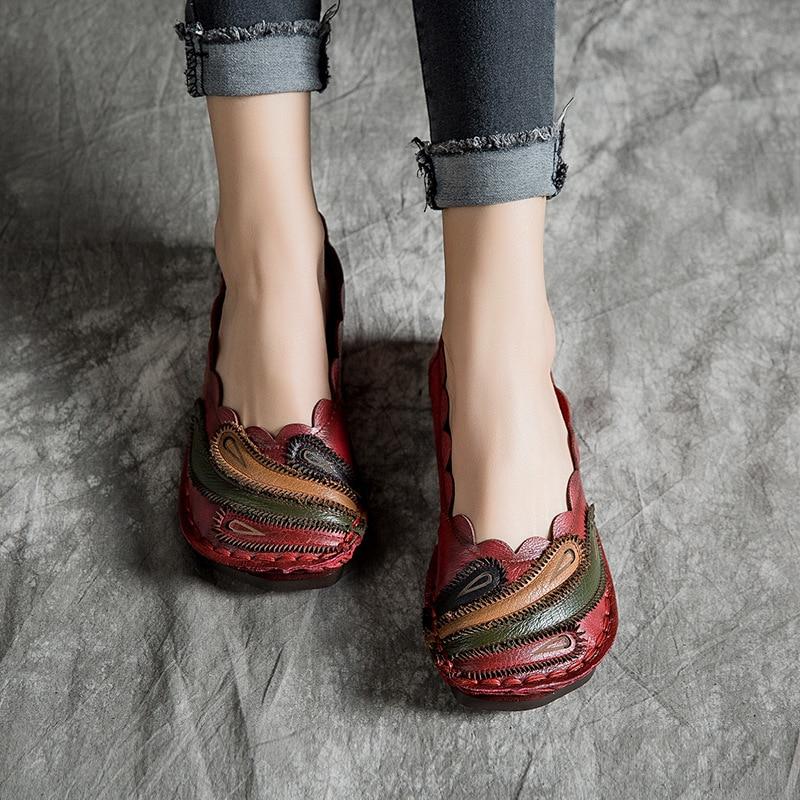 Femmes en Cuir Véritable Main Paresseux Rétro Chaussures 2019 Appartements La Arc Mocassins En À motif Vert Tyakiho rouge Printemps Y7ybgvIf6