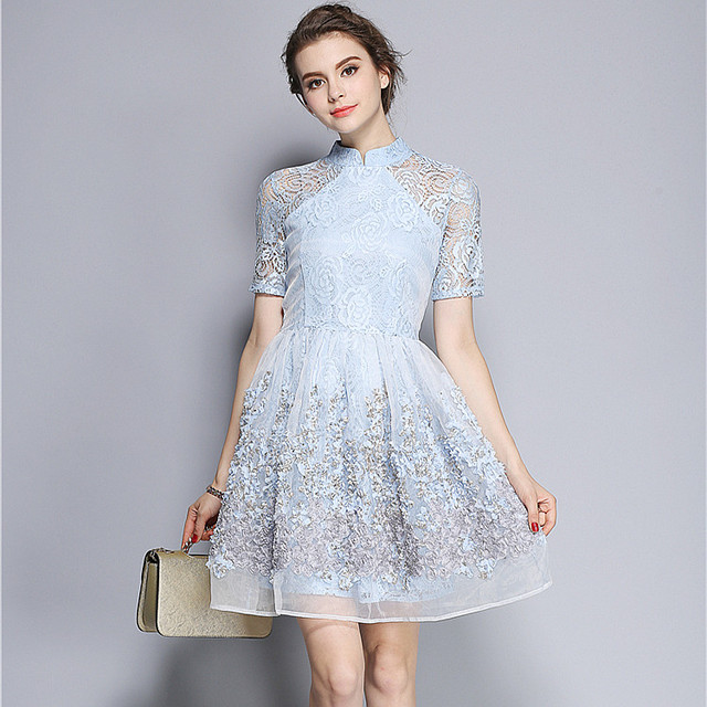 110557f3f57 Elegant Mandarin Collar Dress Luxury Women Appliques Embroidery Short Sleeve  Summer Lace Dress Event For Party Wedding NS416