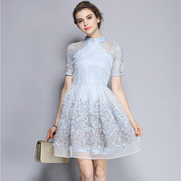 Elegant Mandarin Collar Dress Luxury Women Appliques Embroidery Short Sleeve Summer Lace Dress Event For Party Wedding NS416