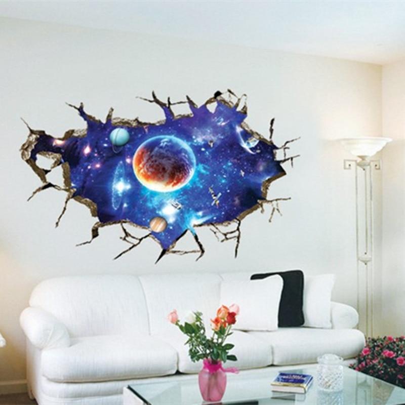 Universum galaxy brechen wand vinyl aufkleber planeten stern ...