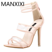 2017 Summer Pumps New Fashion Women Sandals Sexy Roman Style Open Toe Transparent Glass Glue Hollow