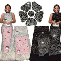 Elegant French Net Lace Pearls And Stones High Quality African Tulle Lace Fabric White F16092719