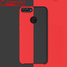 Para Huawei P Smart Liquid Silicon Back funda de teléfono para Honor 9 Lite funda mate Ultra delgada Anti -Capa protectora de golpe(China)