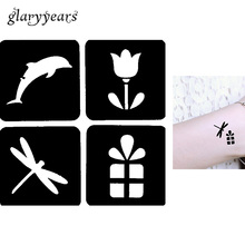 1 Sheet Black Color Henna Tattoo Stencil Hollow Dolphin Flower Gift Drawing Design For Women Body Art Tool Tattoo Template G115
