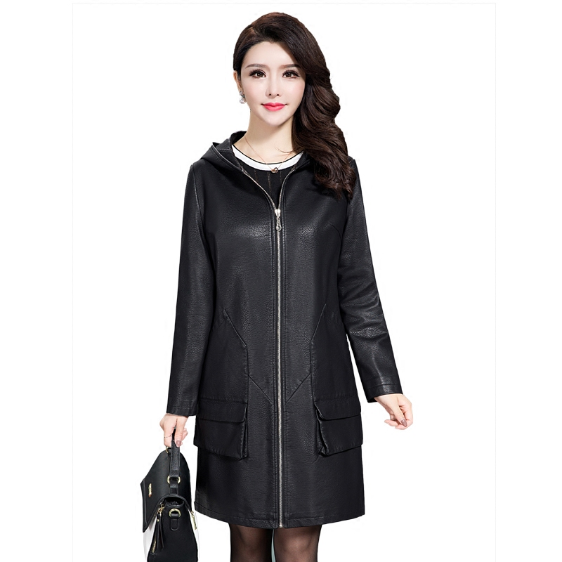 L- 5XL Plus Size Long   Leather   jackets Women 2018 Spring Autumn women   Leather   trench coat women High Quality Hooded   Leather   Coats