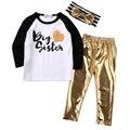 3 UNIDS Conjunto Grande Hermana Del Niño Niños Niñas Ropa de Bebé de Manga Larga T-shirt Tops de Cuero de Oro Diadema Outfit Pant Niños ropa