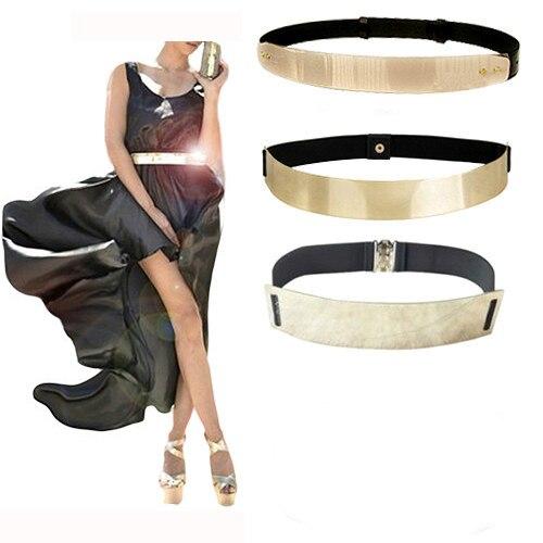 fashion wanita pinggang band elastis cermin logam belt kulit metallic bling emas pelat lebar obi