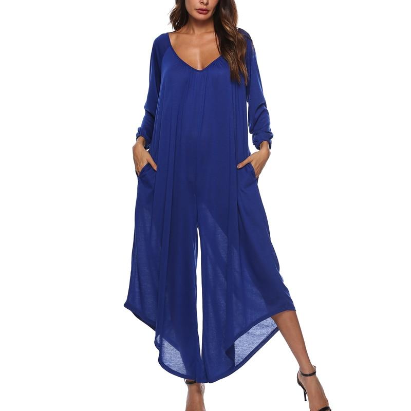 2018 Long Rompers Women   Jumpsuits   Plus Sizes Autumn Female Wide Leg Pants Long Sleeve V-Neck Loose Playsuits&Bodysuits Overalls