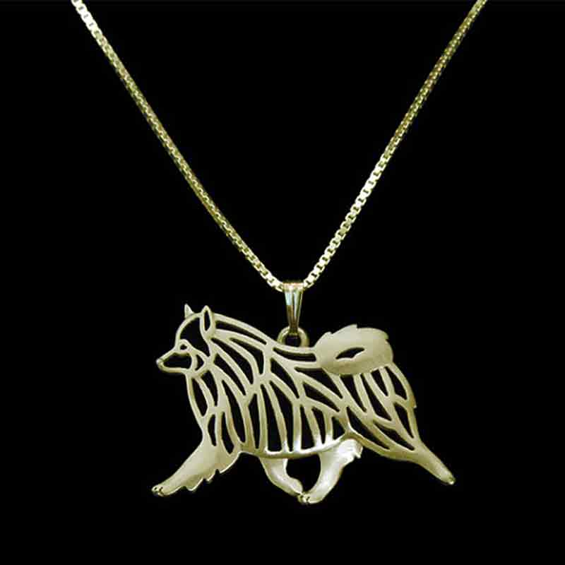 Keeshond Dog Necklace Gold-color Dog Pendant Charms For Pet Lovers Women Special Version Animal Jewelry & Cloth Accessories