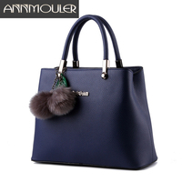 Annmouler Fashion Women Bag Solid Color Handbags Pu Leather Casual Tote Bags 7 Colors Office Ladies