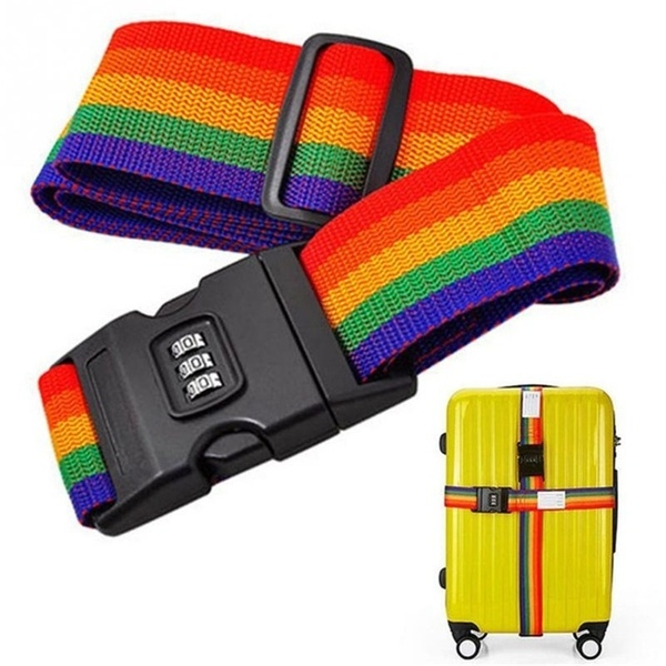 1.7m Baggage Belt Travel Rainbow Adjustable Luggage Suitcase Strap With Coded Lock Secure Lock Safe Belt Strap