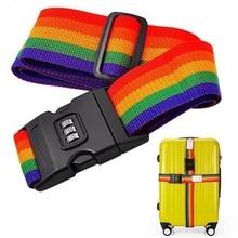 1.7m baggage Belt Travel Rainbow Adjustable Luggage Suitcase Strap with Coded Lock Secure Lock Safe Belt Strap