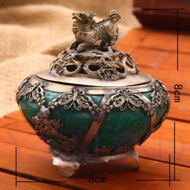 Antique green jade Tibet lucky animal Kylin incense burner censer statue