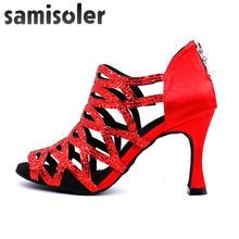 Samisoler New Glitter Cut-Outs women latin dance shoes  tango jazz salsa Ballroom Fashion 5CM-10CM