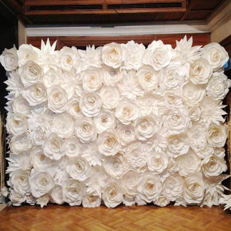 128PCS SET Gaint Bryllup Paper Flowers Wall Håndlaget DIY Bland blomster som Wedding Backdrop Deco 2.5X3 meter